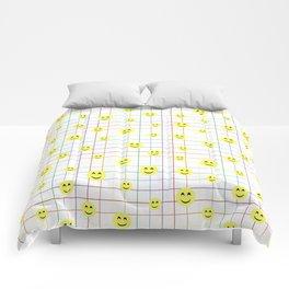 Colorful Smiley Emoji 3 - white Comforters