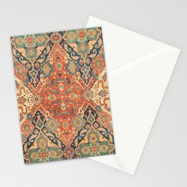 Geometric Leaves VII // 18th Century Distressed Red Blue Green Colorful Ornate Accent Rug Pattern Stationery Cards
