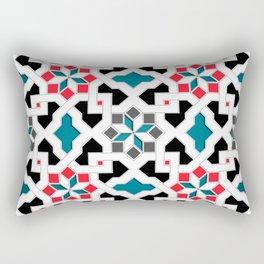 Oriental Pattern - Geometric Design, red / blue / grey Rectangular Pillow