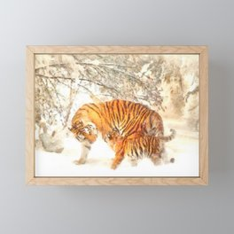Siberian Amur Tigers Framed Mini Art Print