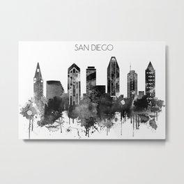 Black and white watercolor San Diego skyline Metal Print