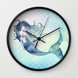 Watercolor Mermaid Wall Clock