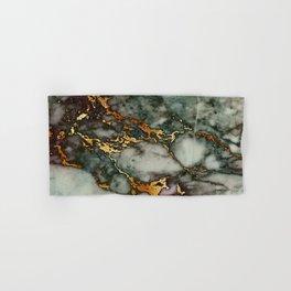Gray Green Marble Glitter Gold Metallic Foil Style Hand & Bath Towel