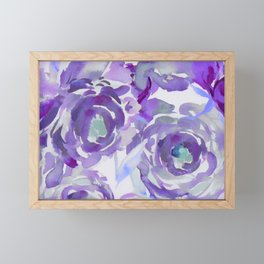 Purple Haze Painterly Floral Abstract Framed Mini Art Print