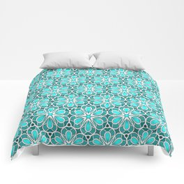 Symmetrical Flower Pattern in Turquoise Comforters