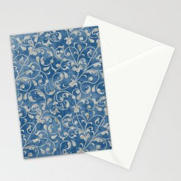 Damask Denim Blue Background with Flowering Vine Floral in Mottled Gray Stationery Cards