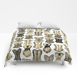 Vintage Sexy Cream and Black Girly Corsets Pattern Comforters