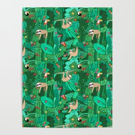 Sloths in the Emerald Jungle Pattern Poster