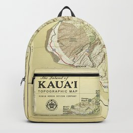 The Island of Kauai [vintage inspired] Topographic Map Backpack