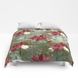 Watercolor botanical green burgundy ivory floral Comforters