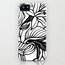 White Black Floral Minimalist iPhone Case