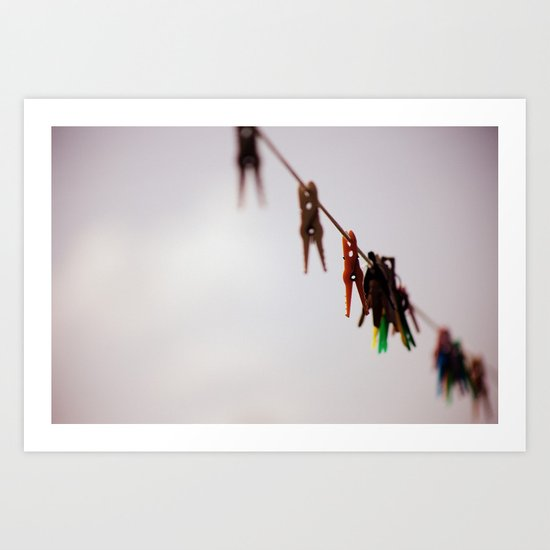 Clothespins on a rope 4496 Art Print