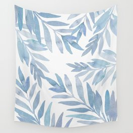 Muted Blue Palm Leaves Wall Tapestry