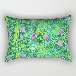 Pink Clover Flowers on Green Field, Floral Pattern Rectangular Pillow