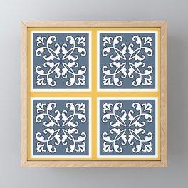 Floral tiles Framed Mini Art Print