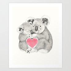 Koalas love hugs Art Print