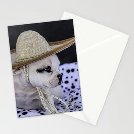 Tiny White French Bulldog Puppy with Black Markings Wearing an Oversize Sombrero Hat Stationery Cards