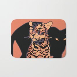 Retro vintage Munich Zoo big cats Bath Mat