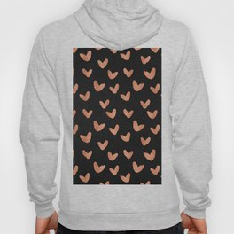 Rose Gold Hearts on Black Hoody