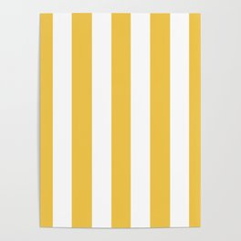 Maize (Crayola) orange - solid color - white vertical lines pattern Poster