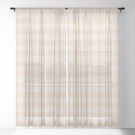 Gingham Pattern - Warm Neutral Sheer Curtain