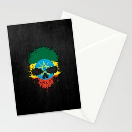 Flag of Ethiopia on a Chaotic Splatter Skull Stationery Cards