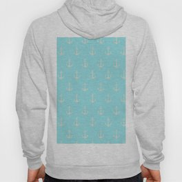 Maritime Teal and White Anchor Pattern Hoody