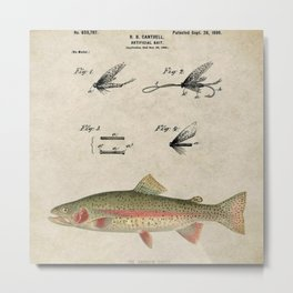 Vintage Rainbow Trout Fly Fishing Lure Patent Game Fish Identification Chart Metal Print