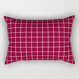 Oxblood - red color - White Lines Grid Pattern Rectangular Pillow