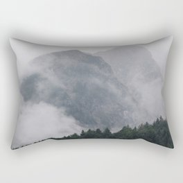 Minimalist Modern Photography Landscape Pine Forest Jagged High Grey Mountains Rectangular Pillow