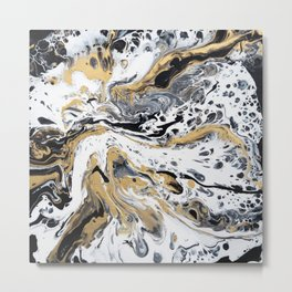 Black White and Gold Fluid Abstract Metal Print