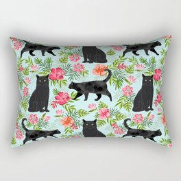 Black cat hawaiian cat breeds cat lover pattern art print cat lady must have Rectangular Pillow