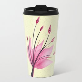 Pink Abstract Water Lily Flower Travel Mug