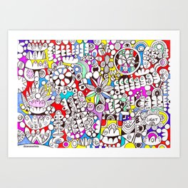 Flower Power (psychedelic abstract art) Art Print