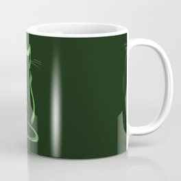 Sitting Cat from behind in Green Coffee Mug