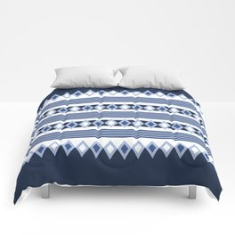 Blue stripes and diamonds pattern Comforters