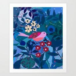 Pink Bellied Twilight Sparrow Art Print