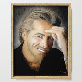 Don Johnson portrait with dry pastels Serving Tray