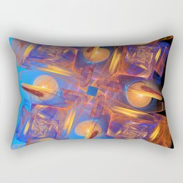 Blue Orange Fractal Abstract Rectangular Pillow