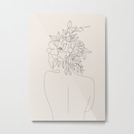 Woman with Flowers Minimal Line I Metal Print