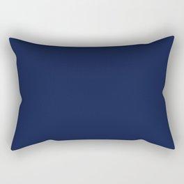 Navy Blue Minimalist Solid Color Block Spring Summer Rechteckiges Kissen