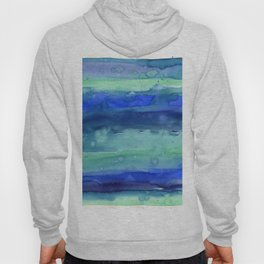 Abstract Blue Horizontal Stripes Watercolor Texture Hoody