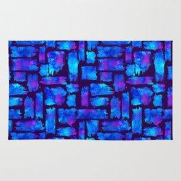 Blue watercolor brush Rug
