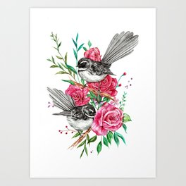 Floral Piwakawakas Art Print