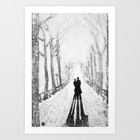Winter Walk in the Park Art Print