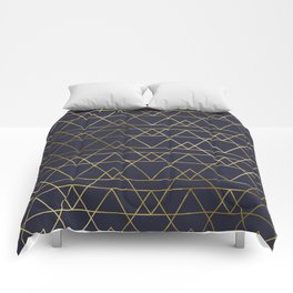 Modern Gold Navy Blue Comforters