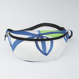Blue and lime green minimalist leaves Fanny Pack