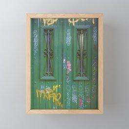 Green Graffiti Door, Buenos Aires Framed Mini Art Print