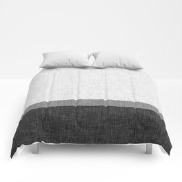 Black and White Graphic Burlap Pattern Stripe Comforters