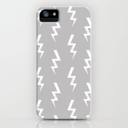 Bolts lightening bolt pattern grey and white minimal cute patterned gifts iPhone Case